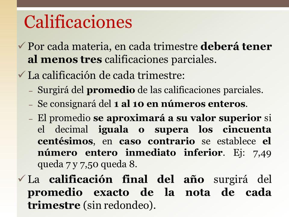 Calificaciones Por cada materia, en cada trimestre deberá tener al menos tres calificaciones parciales.
