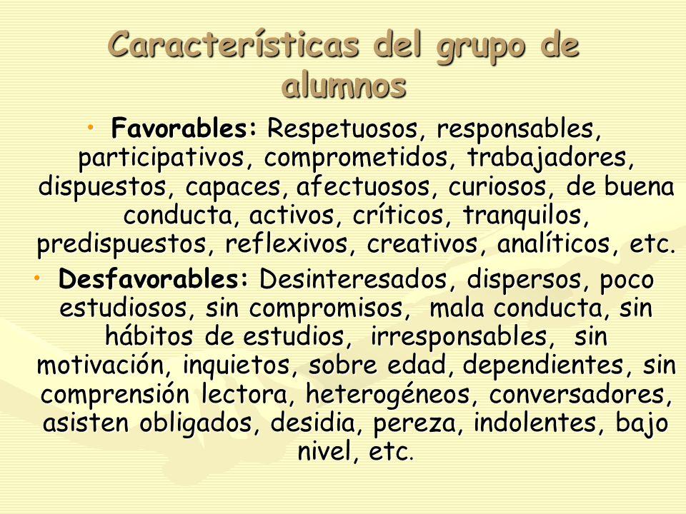 Características del grupo de alumnos