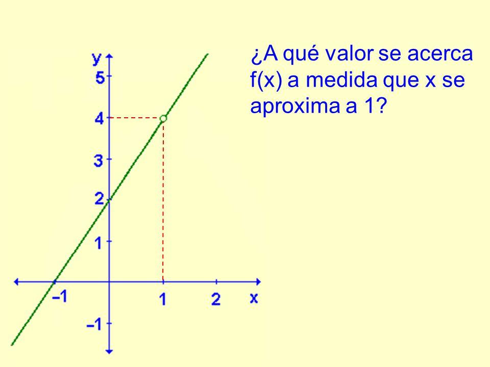 ¿A qué valor se acerca f(x) a medida que x se aproxima a 1