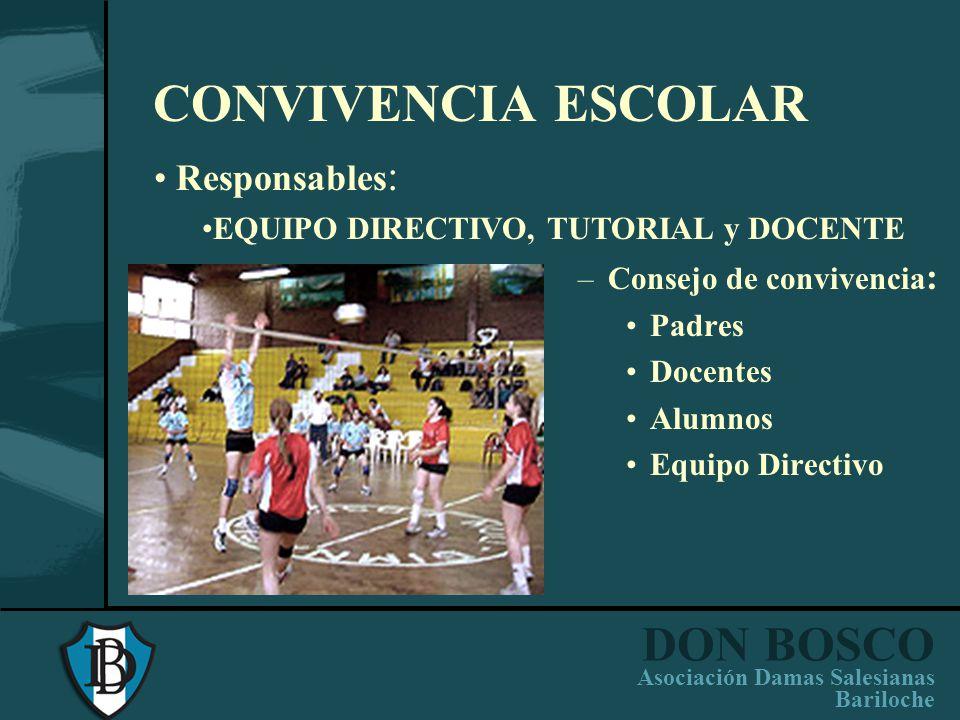 CONVIVENCIA ESCOLAR Responsables: EQUIPO DIRECTIVO, TUTORIAL y DOCENTE