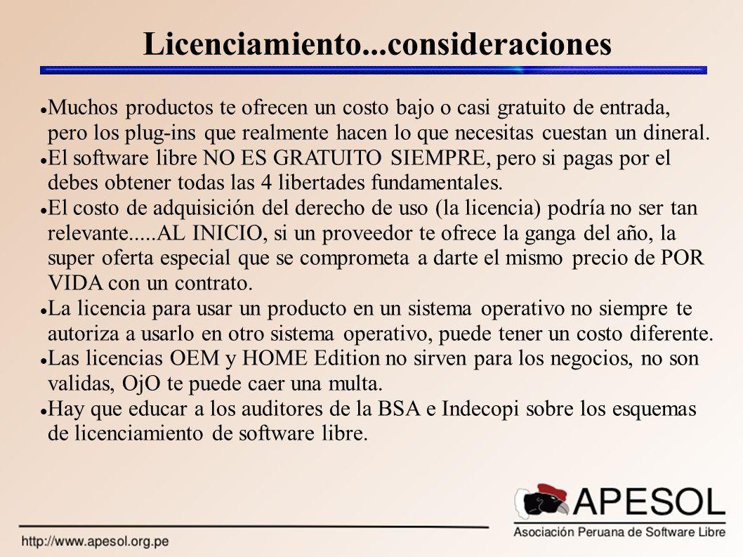 Licenciamiento...consideraciones