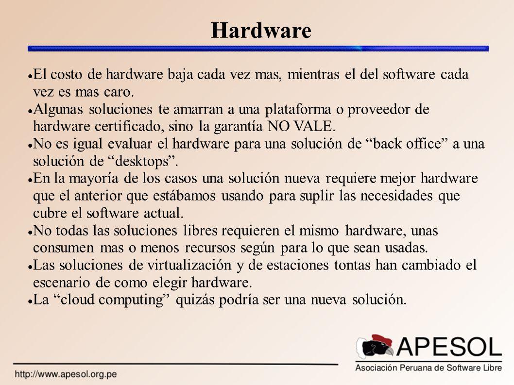 Hardware El costo de hardware baja cada vez mas, mientras el del software cada vez es mas caro.