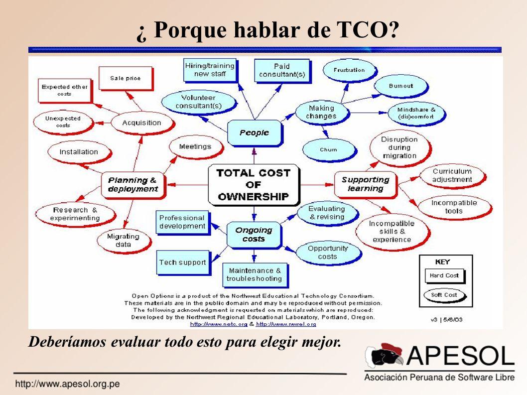 ¿ Porque hablar de TCO Deberíamos evaluar todo esto para elegir mejor.