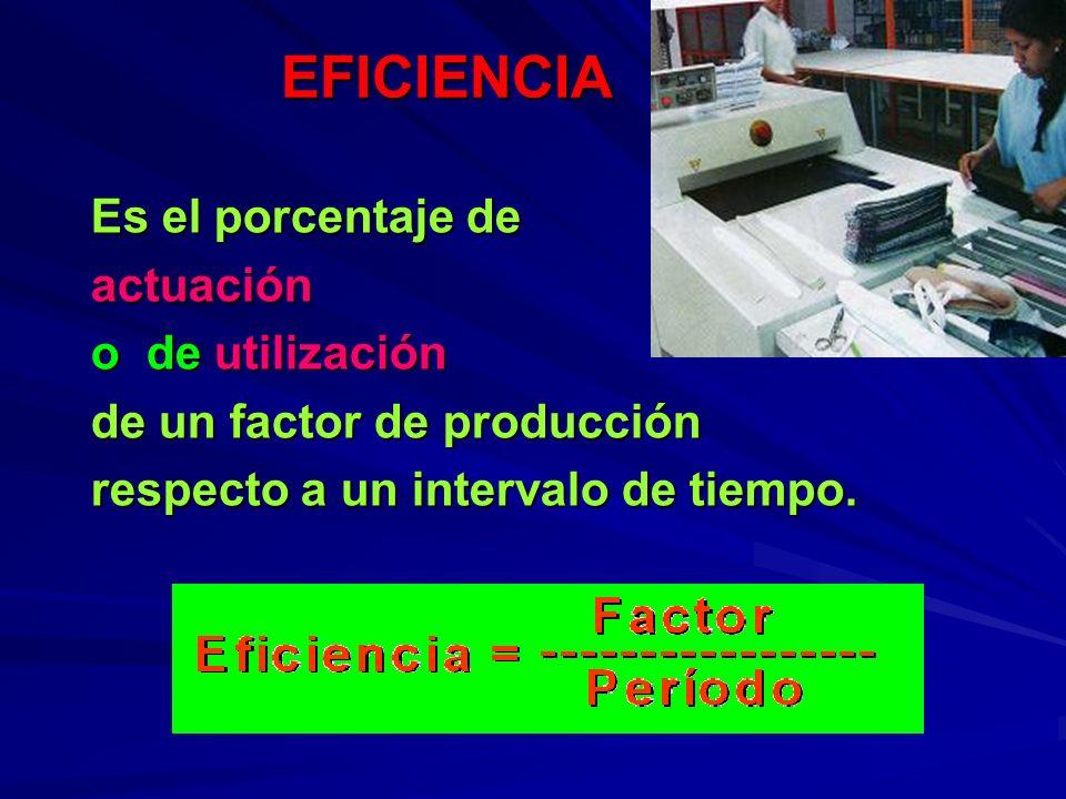 EFICIENCIA Es el porcentaje de actuación o de utilización