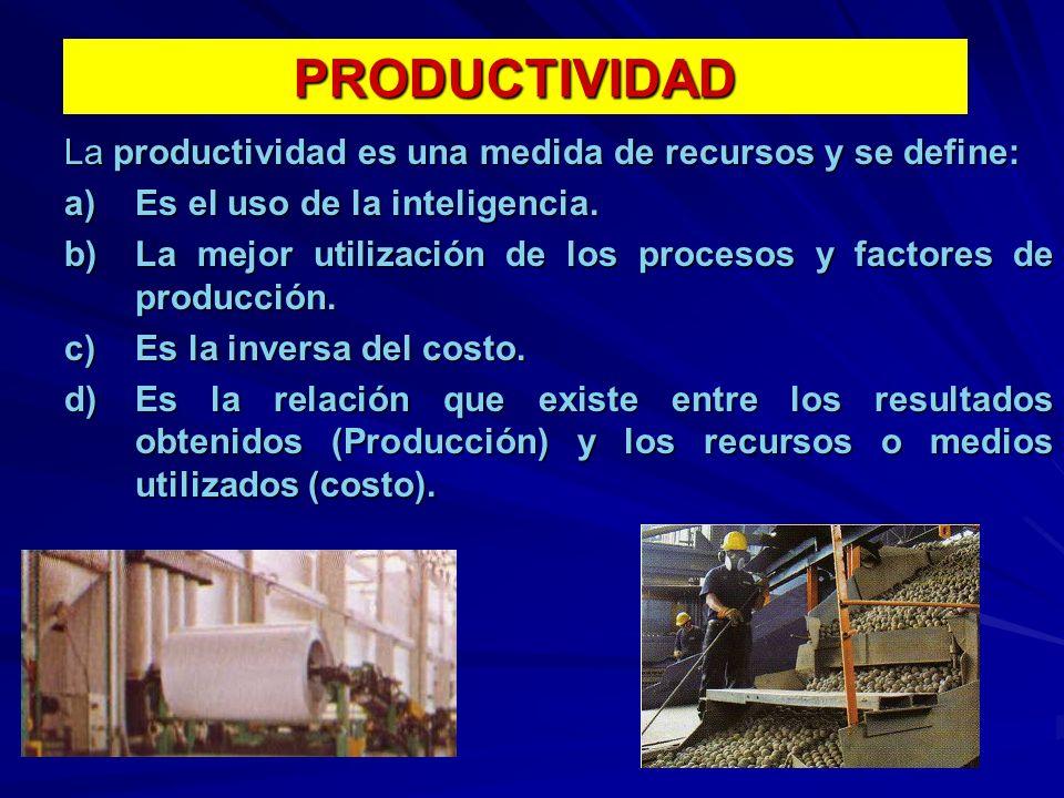 PRODUCTIVIDAD La productividad es una medida de recursos y se define: