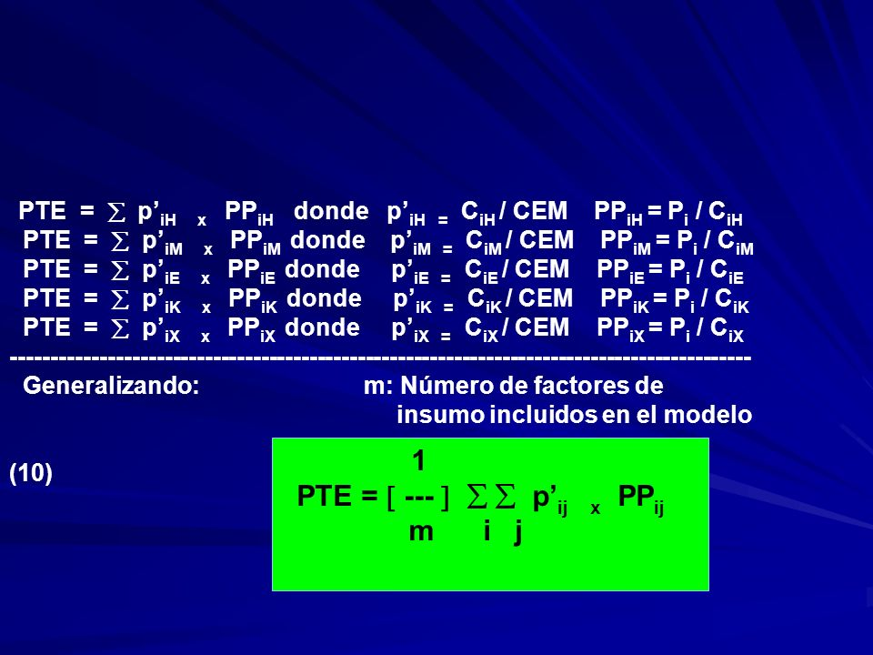 PTE =  ---    p'ij x PPij m i j