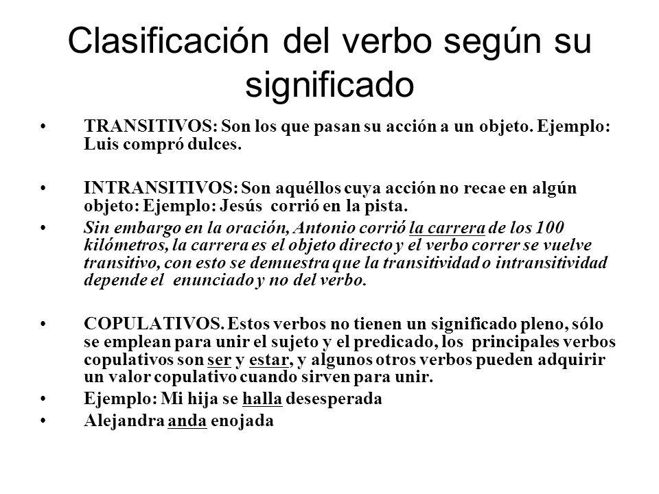 Clasificación del verbo según su significado