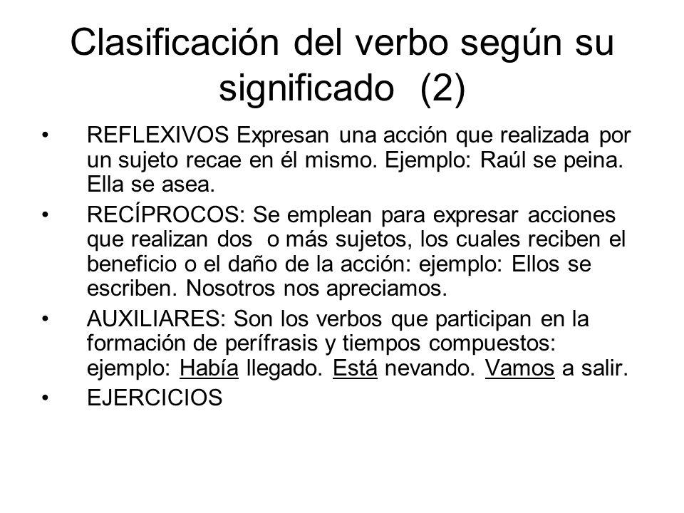 Clasificación del verbo según su significado (2)
