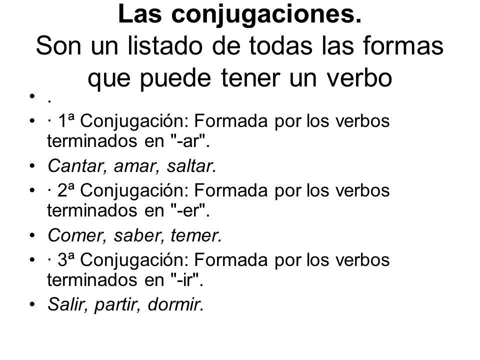 Las conjugaciones. Son un listado de todas las formas que puede tener un verbo