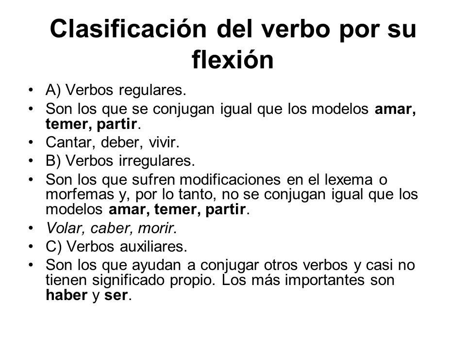 Clasificación del verbo por su flexión