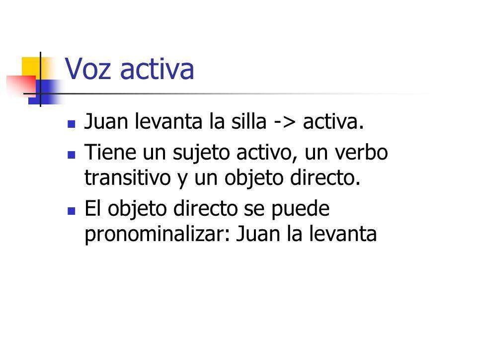 Voz activa Juan levanta la silla -> activa.
