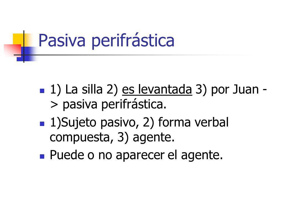 Pasiva perifrástica 1) La silla 2) es levantada 3) por Juan -> pasiva perifrástica. 1)Sujeto pasivo, 2) forma verbal compuesta, 3) agente.