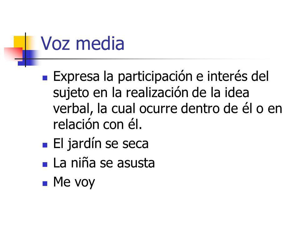 Voz media Expresa la participación e interés del sujeto en la realización de la idea verbal, la cual ocurre dentro de él o en relación con él.