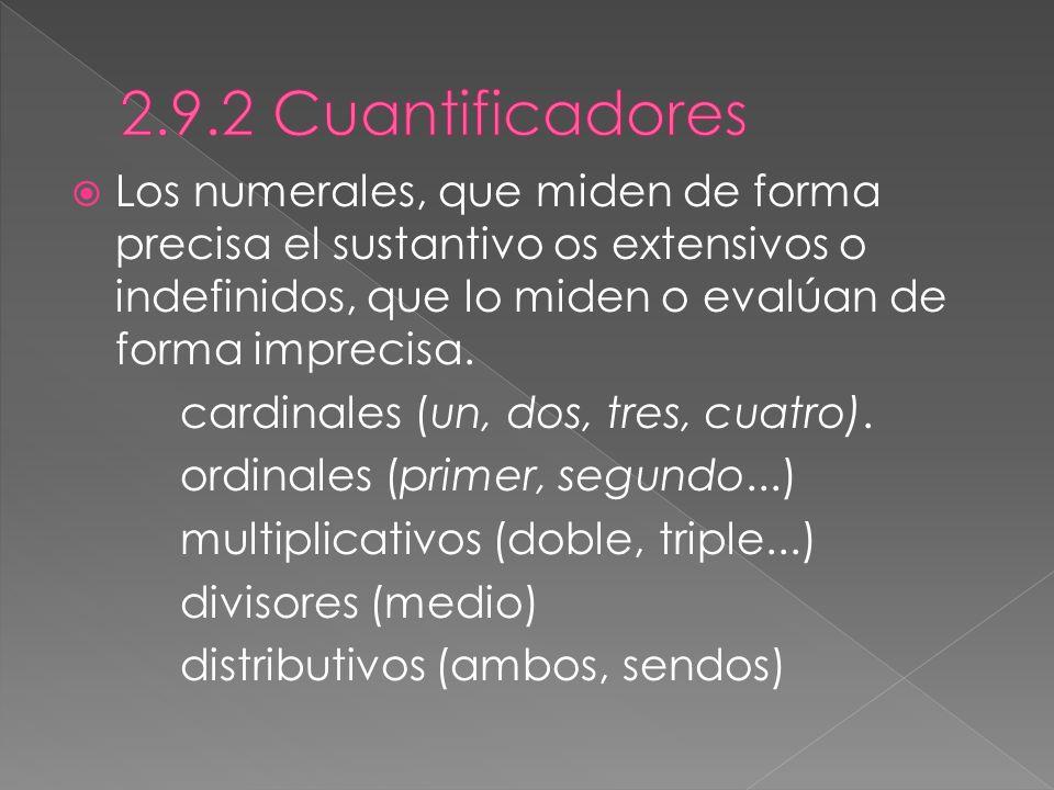 2.9.2 Cuantificadores Los numerales, que miden de forma precisa el sustantivo os extensivos o indefinidos, que lo miden o evalúan de forma imprecisa.