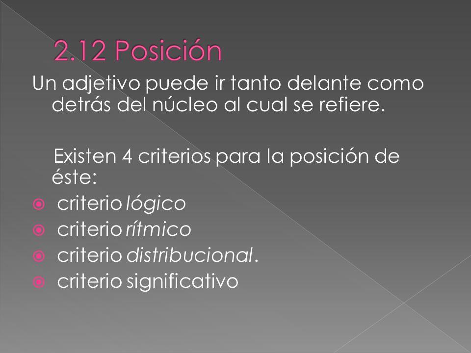 2.12 Posición Un adjetivo puede ir tanto delante como detrás del núcleo al cual se refiere. Existen 4 criterios para la posición de éste: