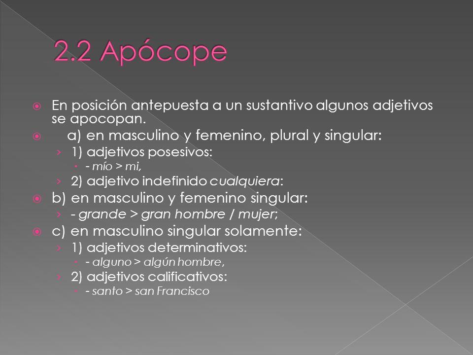 2.2 Apócope b) en masculino y femenino singular:
