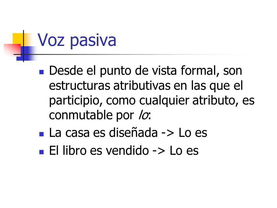 Voz pasiva Desde el punto de vista formal, son estructuras atributivas en las que el participio, como cualquier atributo, es conmutable por lo: