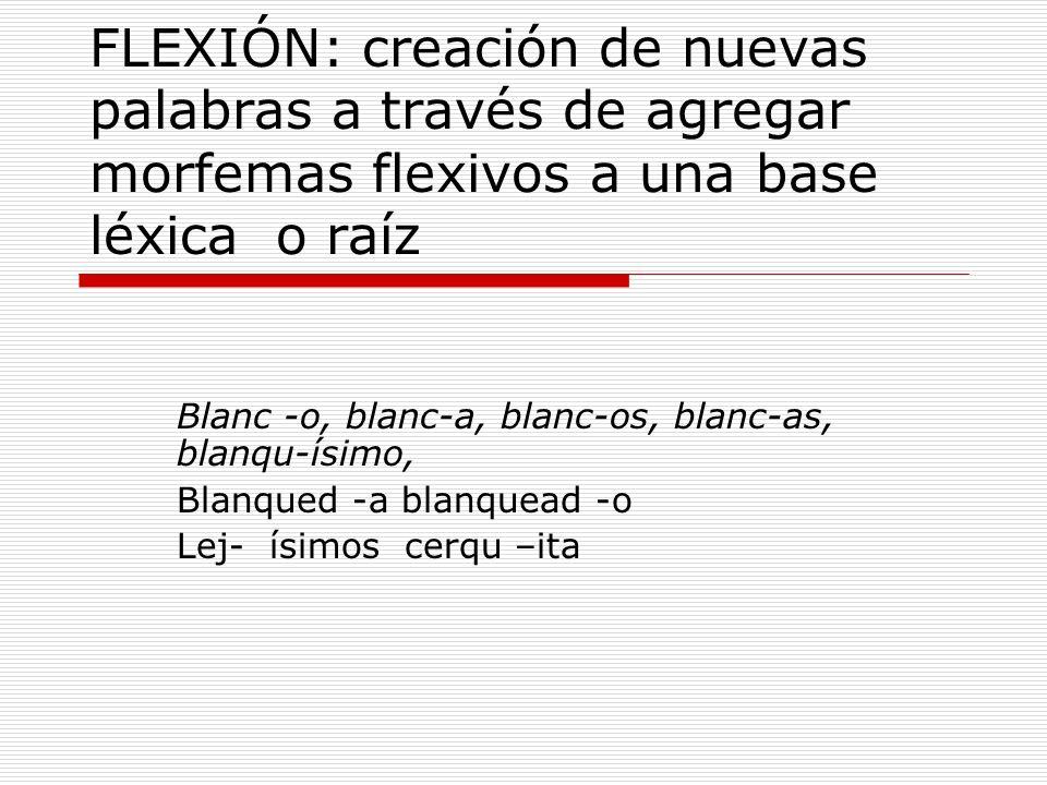 FLEXIÓN: creación de nuevas palabras a través de agregar morfemas flexivos a una base léxica o raíz