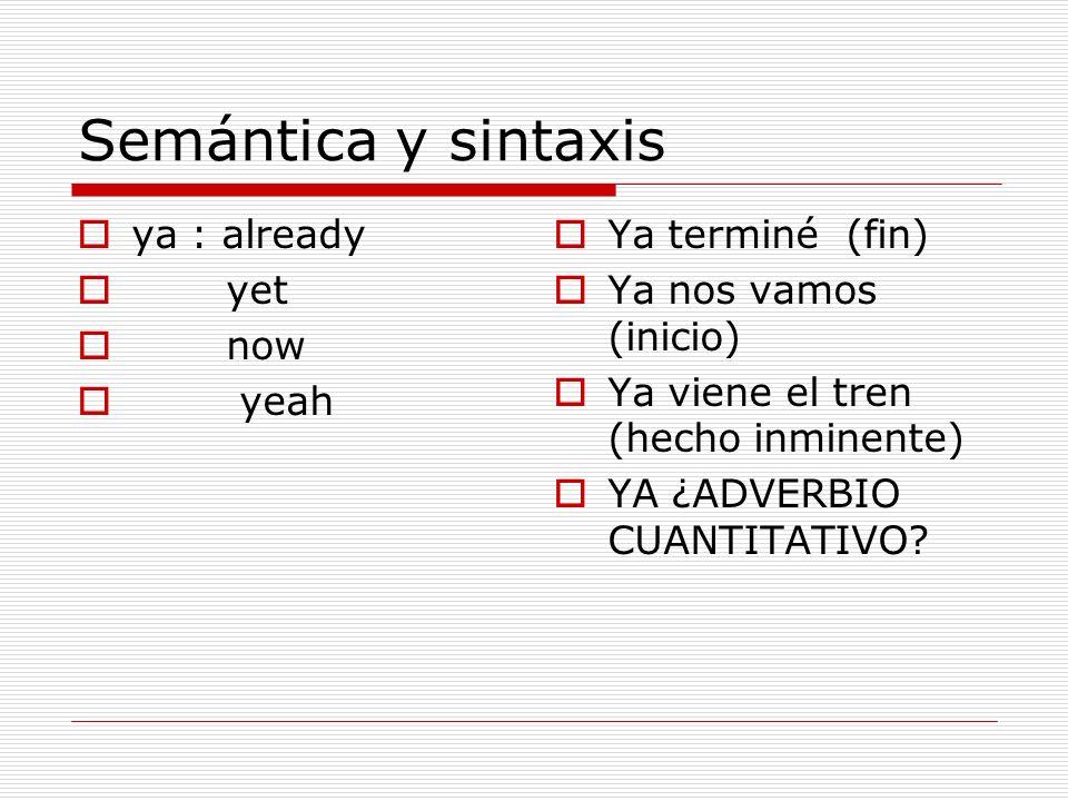 Semántica y sintaxis ya : already yet now yeah Ya terminé (fin)