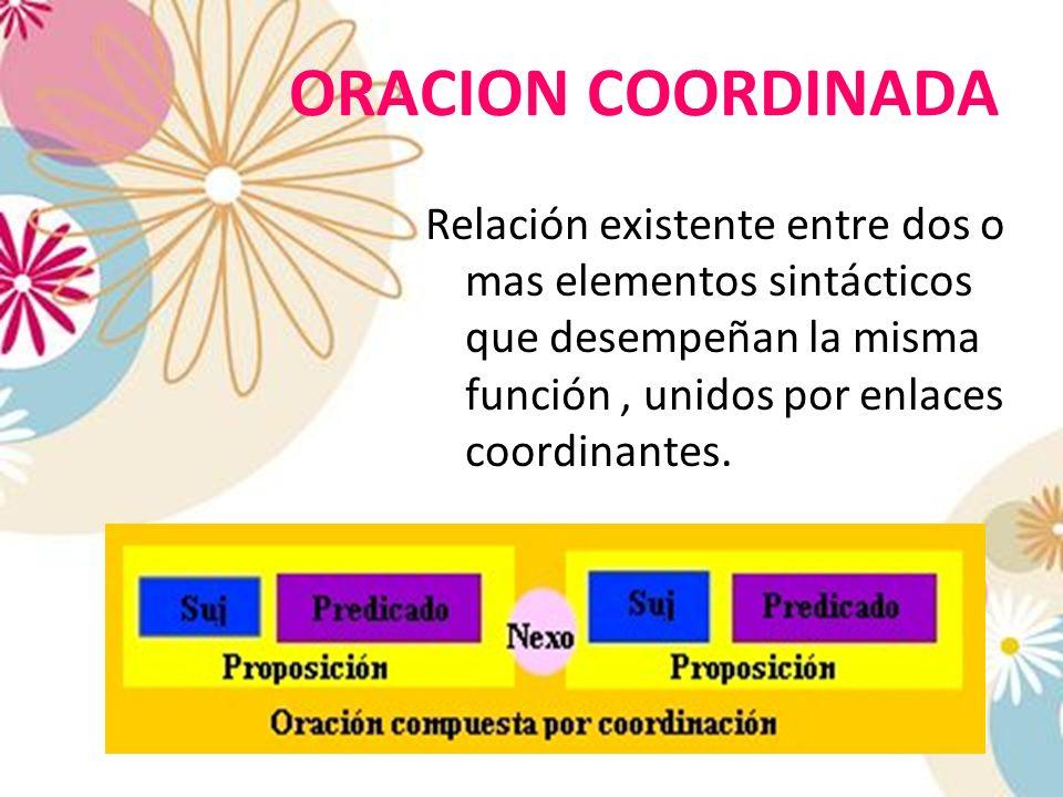 ORACION COORDINADA Relación existente entre dos o mas elementos sintácticos que desempeñan la misma función , unidos por enlaces coordinantes.