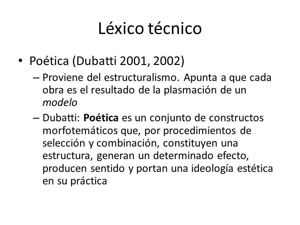Léxico técnico Poética (Dubatti 2001, 2002)