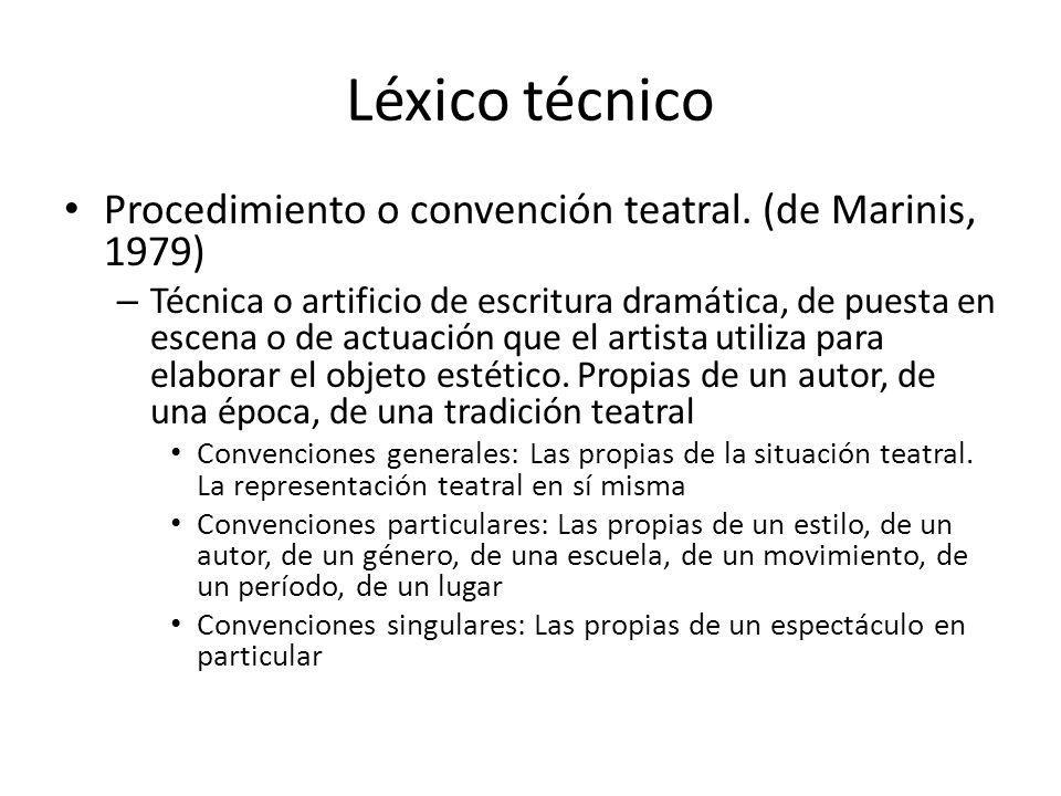 Léxico técnico Procedimiento o convención teatral. (de Marinis, 1979)