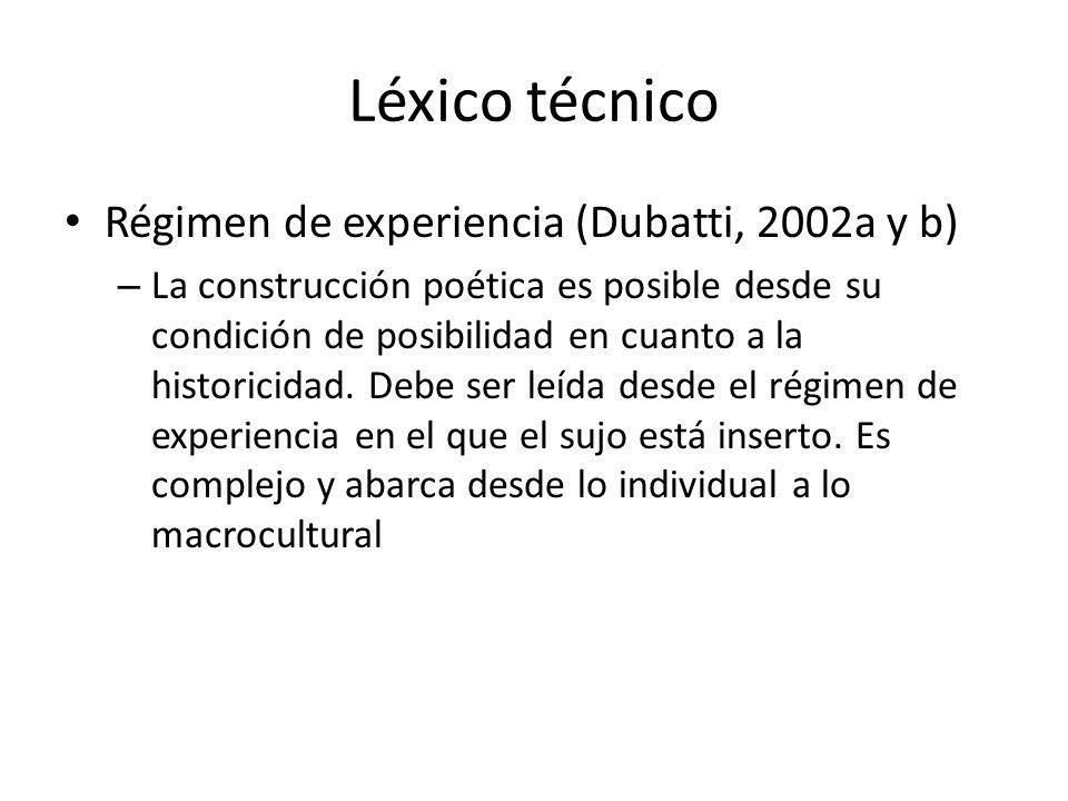 Léxico técnico Régimen de experiencia (Dubatti, 2002a y b)