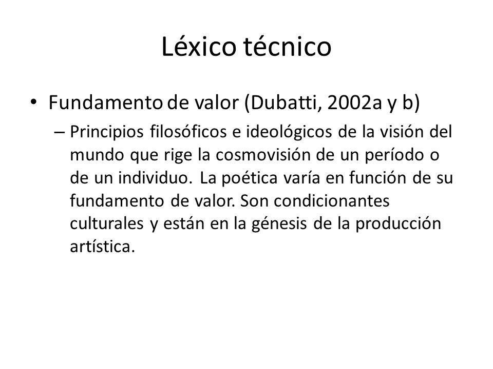Léxico técnico Fundamento de valor (Dubatti, 2002a y b)