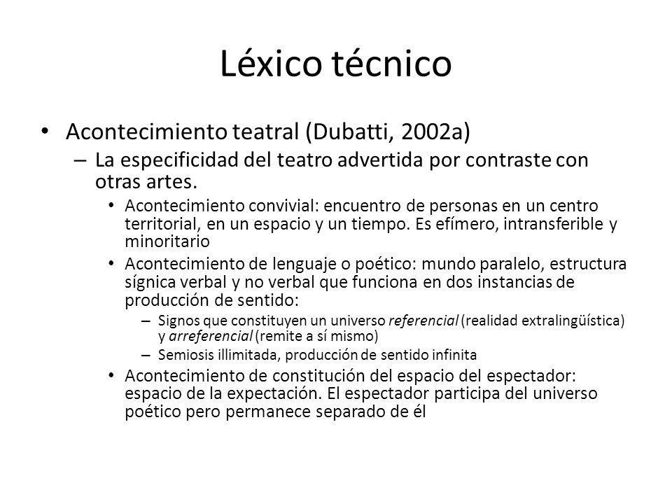 Léxico técnico Acontecimiento teatral (Dubatti, 2002a)