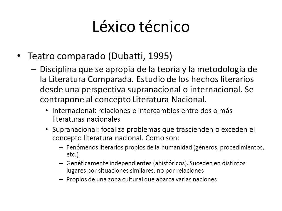 Léxico técnico Teatro comparado (Dubatti, 1995)