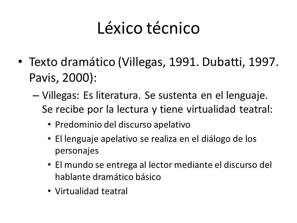 Léxico técnico Texto dramático (Villegas, 1991. Dubatti, 1997. Pavis, 2000):