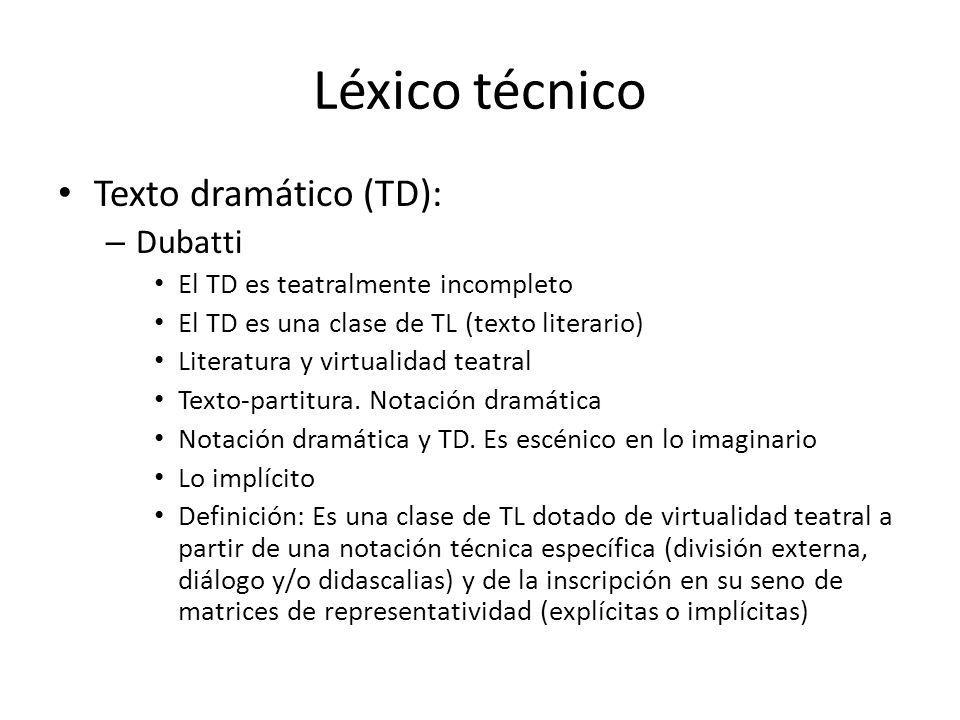 Léxico técnico Texto dramático (TD): Dubatti