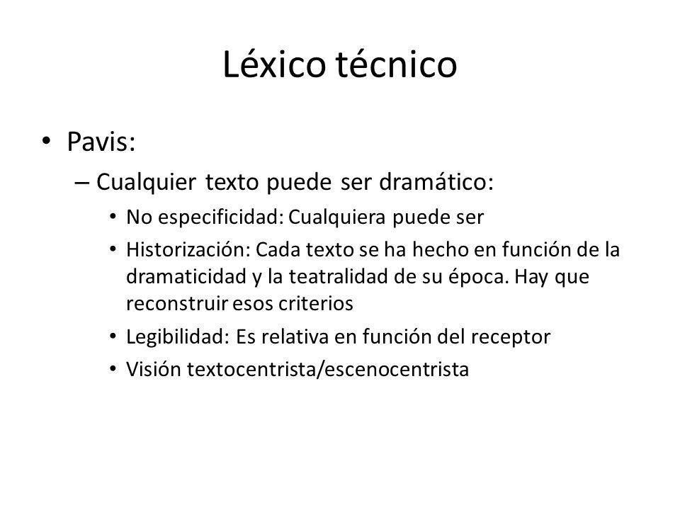 Léxico técnico Pavis: Cualquier texto puede ser dramático: