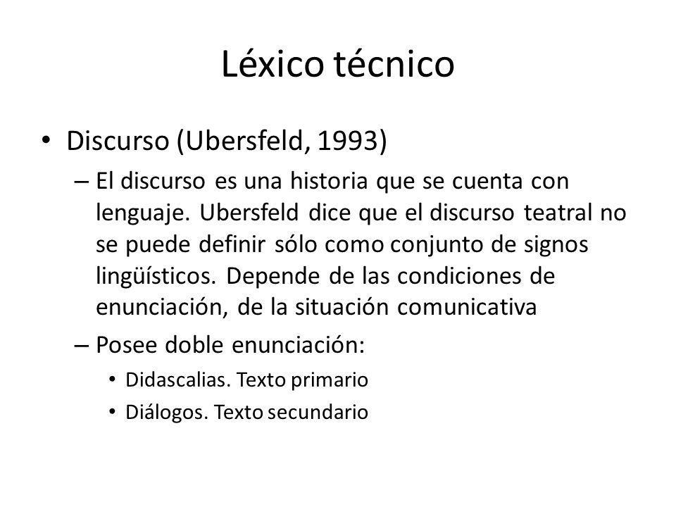 Léxico técnico Discurso (Ubersfeld, 1993)