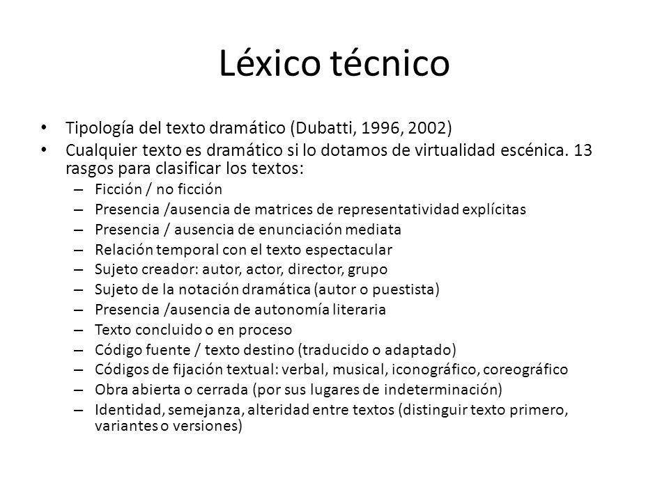 Léxico técnico Tipología del texto dramático (Dubatti, 1996, 2002)
