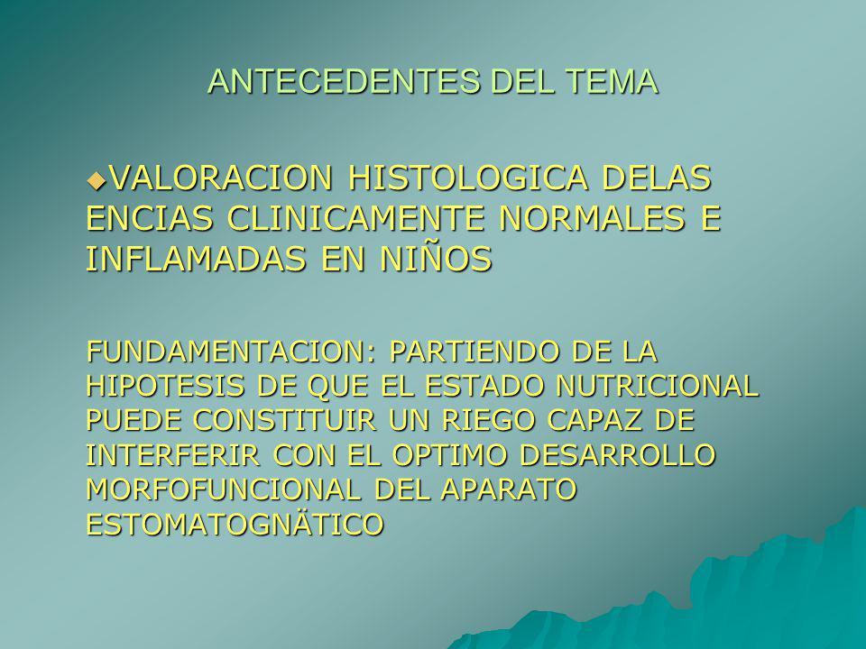 ANTECEDENTES DEL TEMA VALORACION HISTOLOGICA DELAS ENCIAS CLINICAMENTE NORMALES E INFLAMADAS EN NIÑOS.