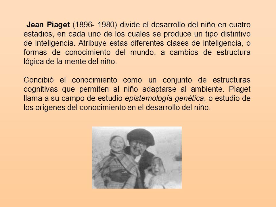 Jean Piaget (1896- 1980) divide el desarrollo del niño en cuatro estadios, en cada uno de los cuales se produce un tipo distintivo de inteligencia. Atribuye estas diferentes clases de inteligencia, o formas de conocimiento del mundo, a cambios de estructura lógica de la mente del niño.