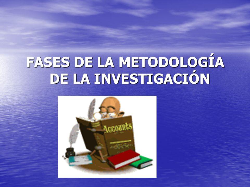 FASES DE LA METODOLOGÍA DE LA INVESTIGACIÓN