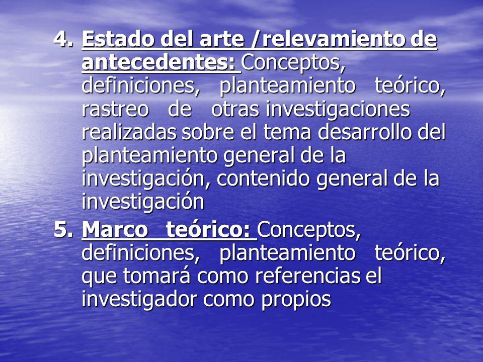 Estado del arte /relevamiento de antecedentes: Conceptos, definiciones, planteamiento teórico, rastreo de otras investigaciones realizadas sobre el tema desarrollo del planteamiento general de la investigación, contenido general de la investigación