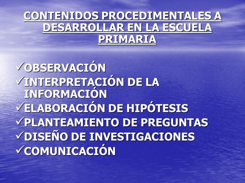 CONTENIDOS PROCEDIMENTALES A DESARROLLAR EN LA ESCUELA PRIMARIA