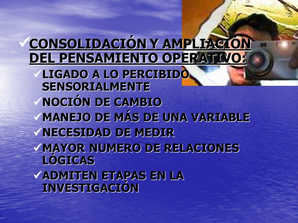 CONSOLIDACIÓN Y AMPLIACIÓN DEL PENSAMIENTO OPERATIVO: