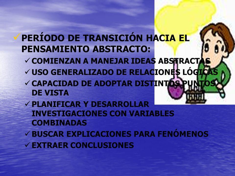 PERÍODO DE TRANSICIÓN HACIA EL PENSAMIENTO ABSTRACTO: