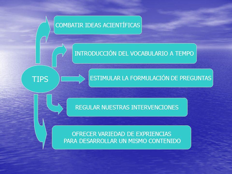 TIPS COMBATIR IDEAS ACIENTÍFICAS INTRODUCCIÓN DEL VOCABULARIO A TEMPO