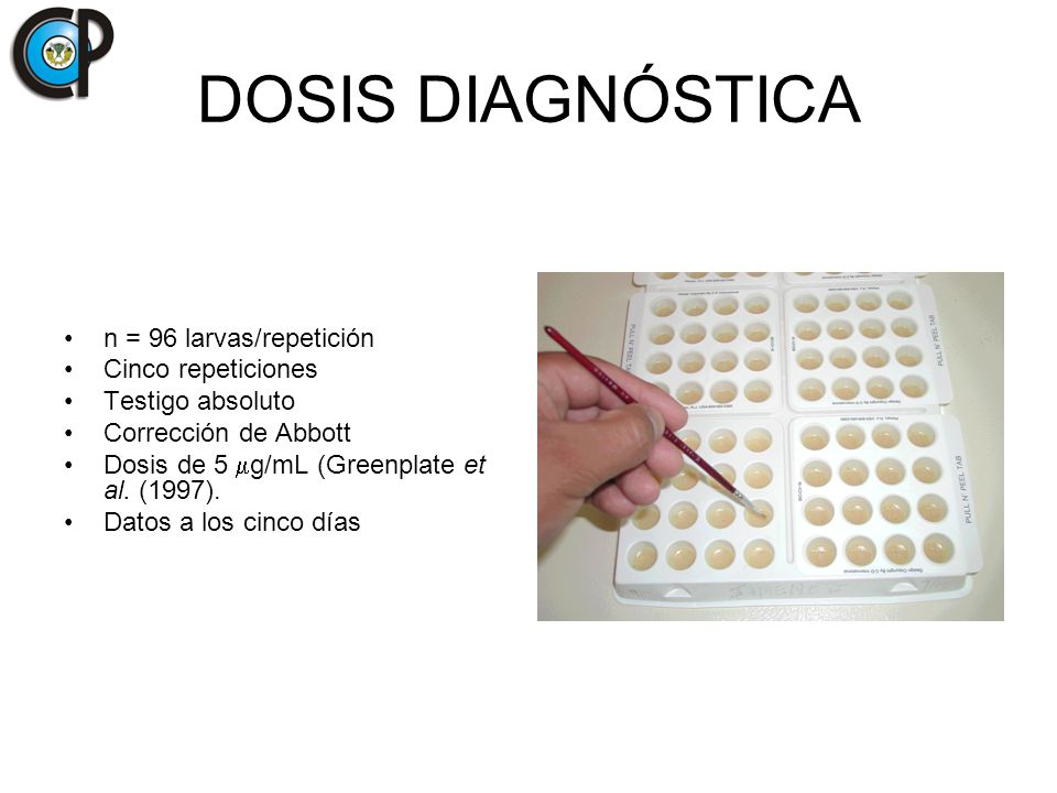 DOSIS DIAGNÓSTICA n = 96 larvas/repetición Cinco repeticiones