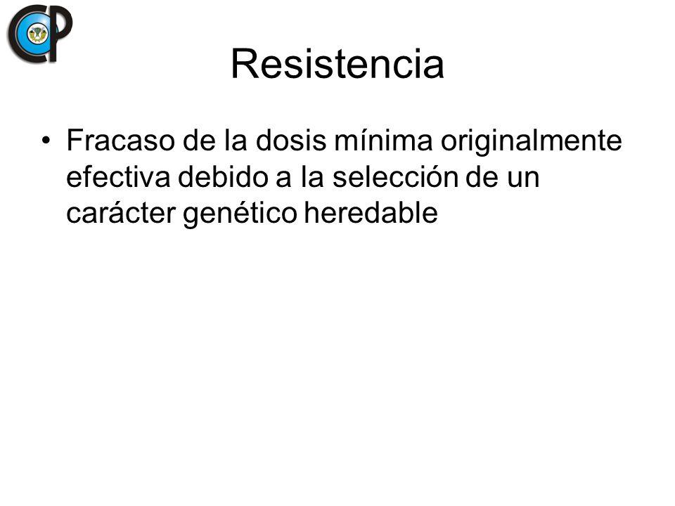 Resistencia Fracaso de la dosis mínima originalmente efectiva debido a la selección de un carácter genético heredable.