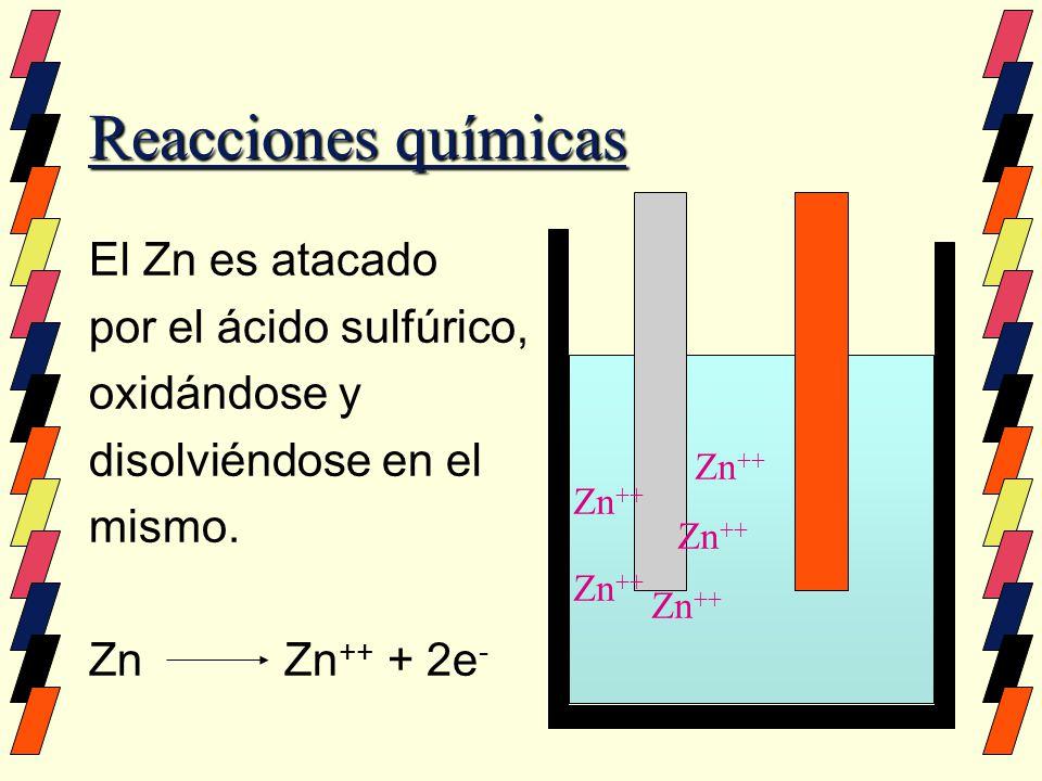 Reacciones químicas El Zn es atacado por el ácido sulfúrico,