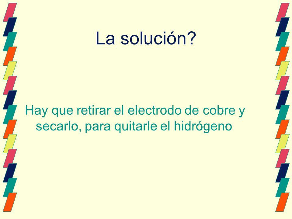 La solución Hay que retirar el electrodo de cobre y secarlo, para quitarle el hidrógeno