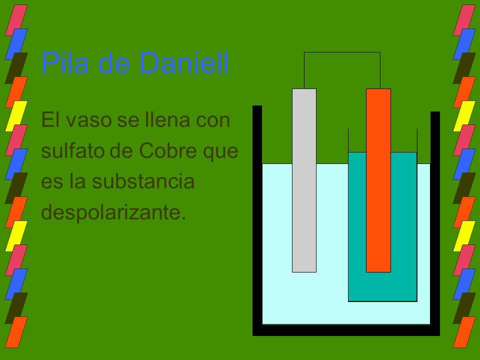 Pila de Daniell El vaso se llena con sulfato de Cobre que