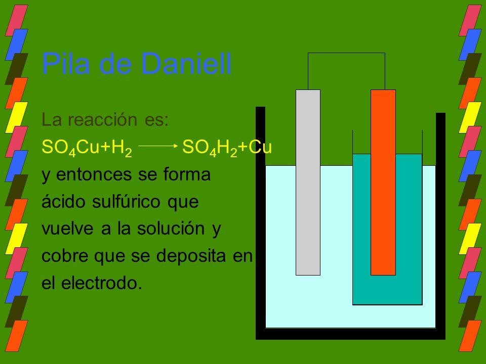Pila de Daniell La reacción es: SO4Cu+H2 SO4H2+Cu y entonces se forma