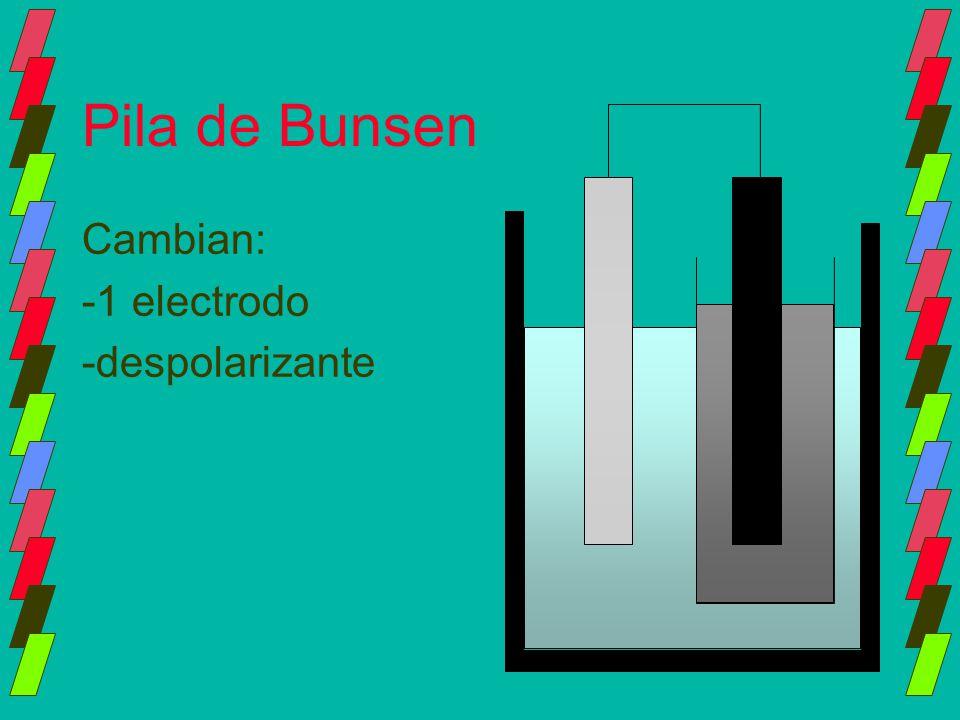 Pila de Bunsen Cambian: -1 electrodo -despolarizante